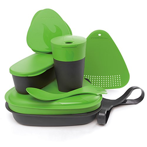 Light My Fire 8-Piece BPA-Free Meal Kit 2.0 with Plate, Bowl, Cup, Cutting Board, Spork and More, Green