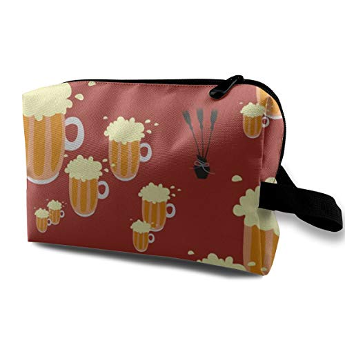 Potter's World_1942 Kulturbeutel / Kosmetiktasche mit Bier und Besenstäbchen, tragbar, zum Aufhängen, für Frauen und Mädchen, 25,4 x 12,7 x 15,7 cm