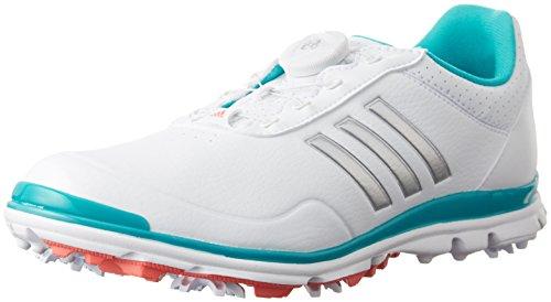 adidas Damen W Adistar Lite Boa Golfschuh, weiß/Silber/blau, 38 2/3