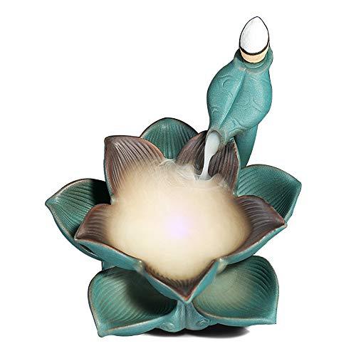 Räuchergefäß Vaporizer Lotus Keramik LED-Lampe Kehrt Bunten Sandelholz Ofen Studie Wohnzimmer Zu Hause Dekoration Schmuck Mehrschicht-Keramik-Räuchergefäss (Farbe : Blau, Size : ONE Size)