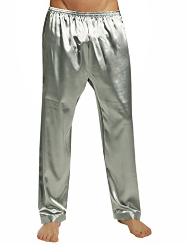 SILK MODA - Pantalones de Pijama de Seda para Hombre - Plateado - Small