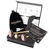 KayaZen(R) Jade Roller Set | Único Magn. Rodillo facial, piedra facial + rasqueta de masaje Gua Sha + cabezales + bolsa | Cuidado facial natural para los ojos y masaje facial