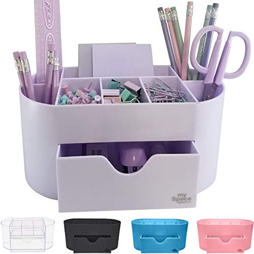 Acrylic Desk Organizer for Office Supplies and Desk Accessories Pen Holder Office Organization Desktop Organizer for Room College Dorm Home School, Light Purple (White Lavender)