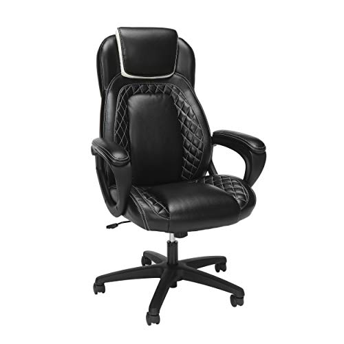OFM ESS Collection Racing Style SofThread Leather High Back Office Chair, White