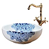 Waschplätze Konsole Sinks Keramik Schränke Auf Waschbecken Rund Hand Bemalt Blau-weißen Kunstbassin Küche Modern Waschbecken (Color : Sink*1+Faucet*1, Size : 41 * 15CM)