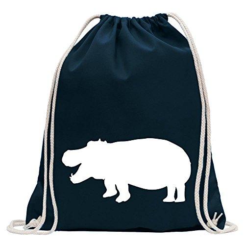 Kiwistar - Flusspferd - Nilpferd - Hippo Turnbeutel Fun Rucksack Sport Beutel Gymsack Baumwolle mit Ziehgurt