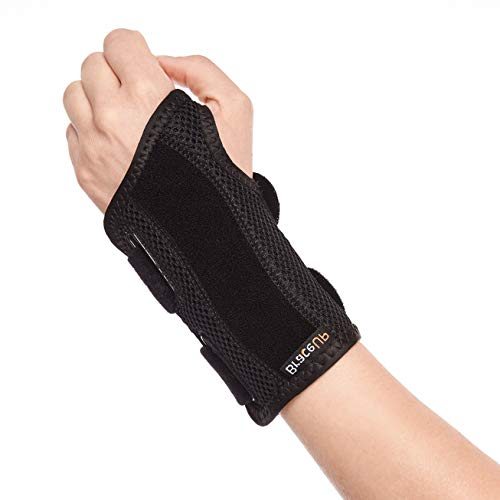 Two Splints provide high level of wrist support Palm cushion offers extra comfort Breathable materials release excess heat and moisture
