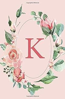 K: Pink Roses and Peonies Monogram Sketchbook  | 110 Sketchbook Pages (6 x 9) | Floral Watercolor Monogram Sketch Notebook | Personalized Initial Letter Journal | Monogramed Sketchbook