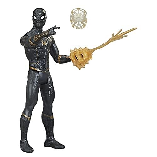 Spider-Man Hasbro Tuta Mystery Web Gear Nera e Dorata, Action Figure 15 cm Ispirata al Film No Way Home, per Bambini dai 4 Anni in su