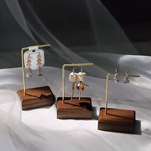 GemeShou Walnut Brass 3pcs Earring Display Stand Retail Single Hoop Earring Hanger Minimal Wood Jewelry Holder Photo Props for Craft Show【Walnut Brass L Shelf 3pcs 】