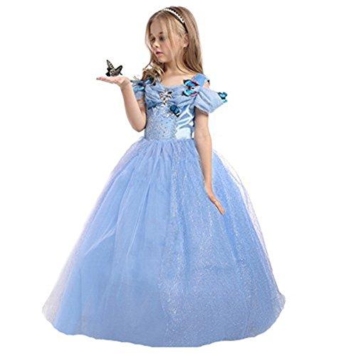 ELSA & ANNA® Mädchen Prinzessin Kleid Verrücktes Kleid Partei Kostüm Outfit DE-FBA-CNDR5 (4-5 Jahre - Size Code 20, Blau)