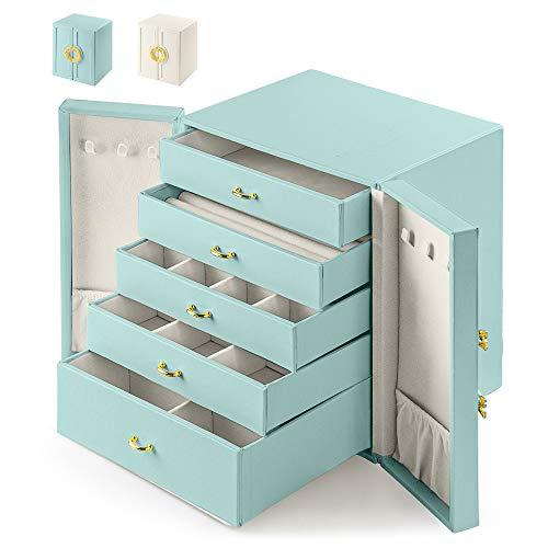 Eozakavod Caja Grande de Joyero,Caja de joyería 5 cajones Doble Puerta,Caja de Joyas-para Pendientes, Pulseras, Anillos, Relojes, Gafas-Regalo Navidad(Azul-N)