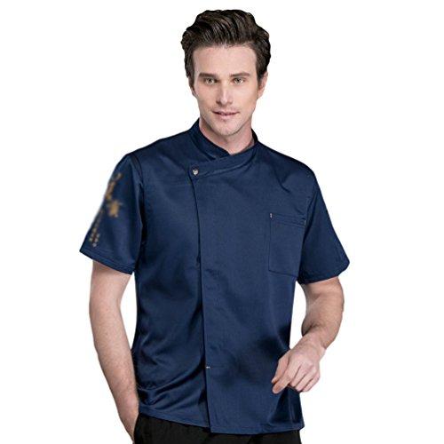 Dooxii Unisexo Mujeres Hombre Verano Manga Corta Camisa de Cocinero Transpirable Chaquetas de Chef Uniforme Cocina Restaurante Occidental Azul 2XL