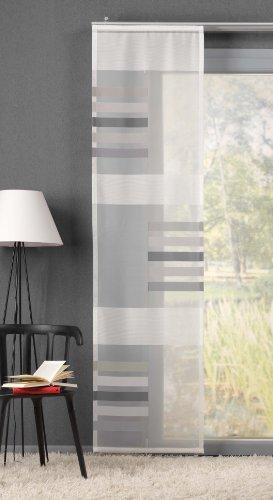GardTex Schiebegardine, Schiebevorhang mit auffälligen Blockstreifen inkl. Dekorationssystem Farbe: grau (245 x 60 cm)