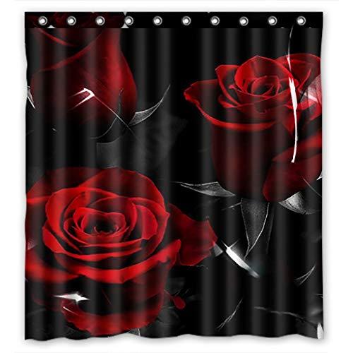 lovedomi Cortina Ducha Floral Rosas Rojas y Hojas Negras Día San Valentín Serie Diablo impresión Digital 3D baño Impermeable Cortina Ducha 69x70 Pulgadas Tela poliéster Lavable con 12 Ganchos