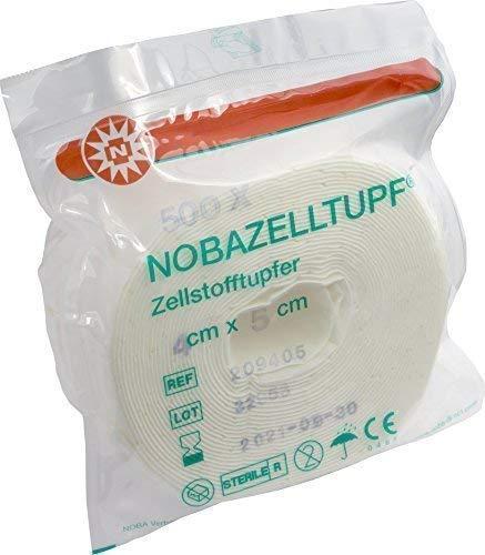500 (= 1 Rouleau) Cellulose Ecouvillon Stérile Nobazelltupf Écouvillon la Destruction des Cellules Zellette Pads par Rouleau Emballage Stérile de Noba