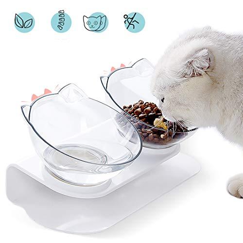 Cysincos Futternäpfe Katzenfutter, rutschfeste Doppelschüssel, 15°Gekippte Futterschüssel Hundenapf Katzenohrenförmiger Katzennapf für Futter Wasser