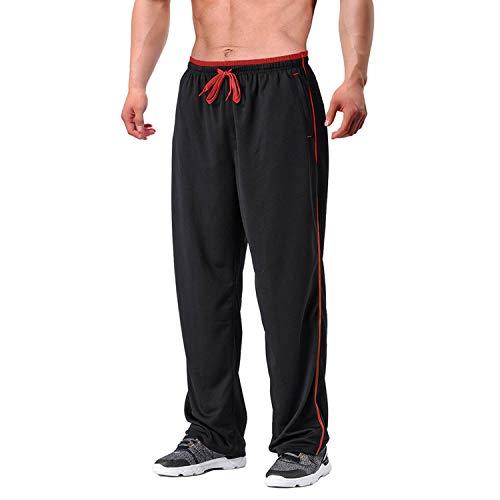 EKLENTSON - Fitness-Hosen für Herren in Schwarz - Rot, Größe M