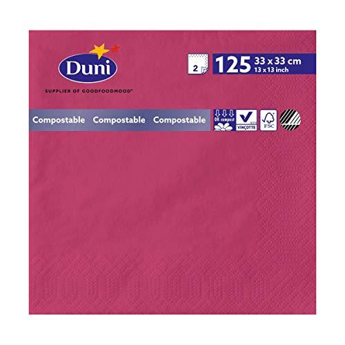 Duni 165586 2 plis Serviettes en papier, 33 cm x 33 cm, fuchsia (lot de 2000)