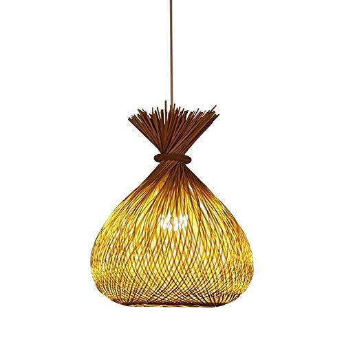 YANGQING Lámpara de luz con personalidad creativa lámpara LED en forma de pez E27/E26 lámpara de bambú hecha a mano lámpara de araña de una sola cabeza de 11.8 x 15.7 pulgadas 40 W