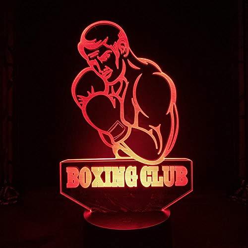 Luz noturna esportiva 3D luz noturna legal boxe clube muscular masculino decoração quarto carregador USB alimentado por bateria 3D slide luz noturna LED para decoração de casa HOICHAN Weiej