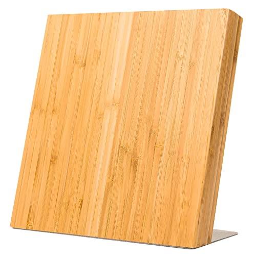 Coninx Quin Bloque Magnético de Cuchillos - Taco de Madera Bambú - 23 x 22 x 12 cm – Imán de neodimio muy fuerte – Ustensilios de Cocina - Satisfacción Garantizada