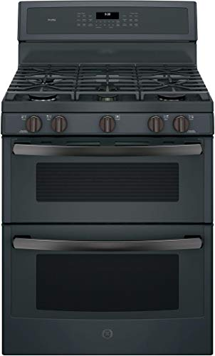 GE Profile PGB960FEJDS 30' Freestanding Double Oven Gas Range with 6.8 cu. ft. Total Capacity 5 Burners Convection Self-Clean Grill/Griddle and Star-K Certified in Black Slate