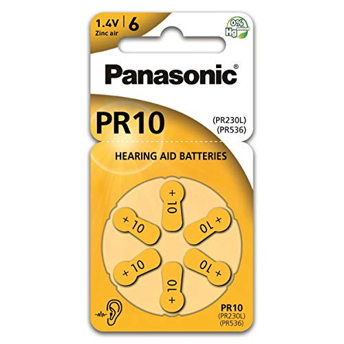 Piles Panasonic PR10 Zinc Air pour appareils auditifs, type 10, 1,4 V, piles pour appareils auditifs, 6 dans un paquet, jaune