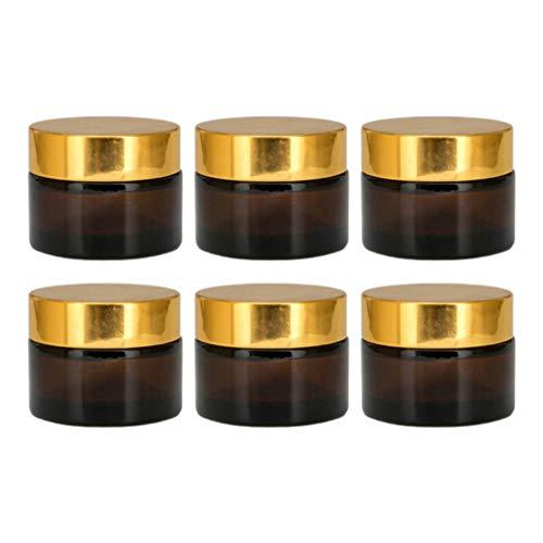 Minkissy 6 Piezas Frascos de Maquillaje Vacíos Frasco Cosmético de Vidrio Contenedor de Boca Ancha para Crema de Viaje Loción Corporal Humectantes Almacenamiento de Ingredientes