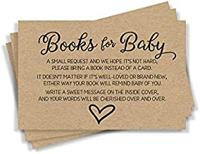 50 Gender Neutral Kraft Baby Shower Book Insert Request Cards (50-Cards)