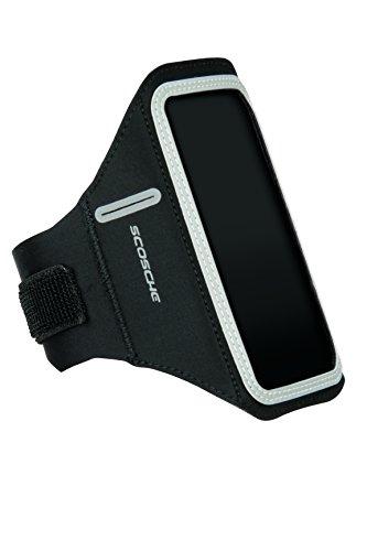 SCOSCHE - LitFit LED Sportarmband für Smartphones I Neopren Armhalterung I Bequeme Oberarmtasche I Fitness Zubehör I integrierte LED-Beleuchtung I Sporthandyhülle I zuverlässiger Halt - Schwarz