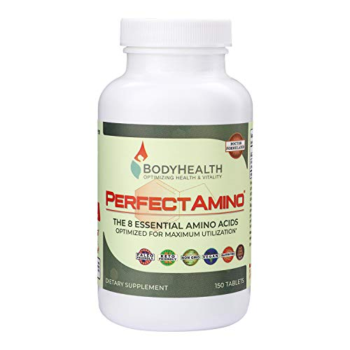 BodyHealth PerfectAmino Tablets (1PK), All 8 Essential Amino Acids with BCAAs + Lysine, Phenylalanine, Threonine, Methionine, Tryptophan, Supplement for Muscle Mass Production, Recovery & Strength