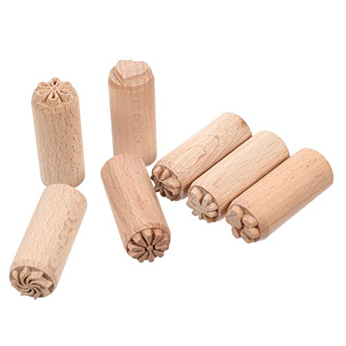 EXCEART - Herramientas de cerámica de madera, diseño floral, sello redondo para accesorios de impresión de scrapbooking de arcilla, 2 cm, 7 piezas