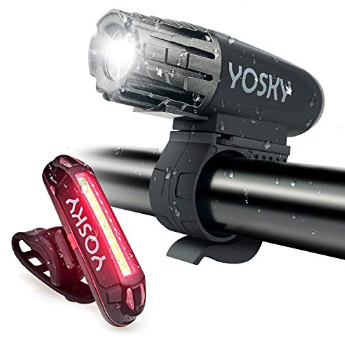 YOSKY USB Rechargeable Bike Light Set - 350 Lumens Powerful LED Bicycle Headlight and Taillight- Super Bright Bike Front Light and Rear Light for Safe Night Riding