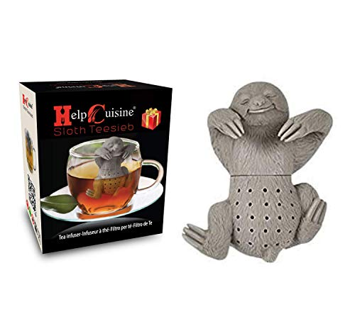 HelpCuisine® teesieb teeei teefilter teekugel aus 100 % lebensmittelechtem Silikon Modernes Design in Faultier-Form.