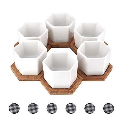 TsunNee 6 macetas de cerámica de 2.7 pulgadas, macetas hexagonales blancas suculentas, macetas de cerámica, mini macetas decorativas para decoración del hogar, jardín, oficina, escritorio, regalo