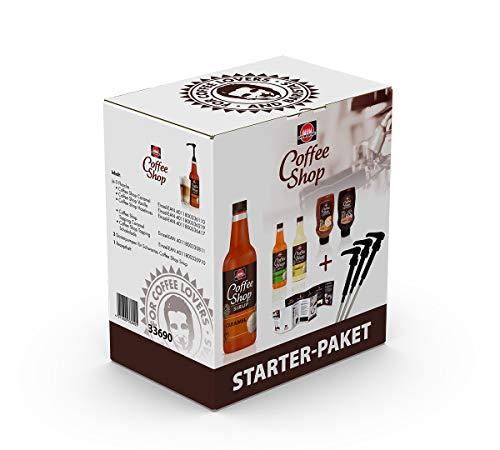 Schwartau Coffee Shop Starter Paket (Karamell-, Vanille-, Haselnussirup, Schoko- und Karamelltopping, 3 Pumpen, Rezeptheft) - Kaffeesirup für Kaffee-Liebhaber und Baristas