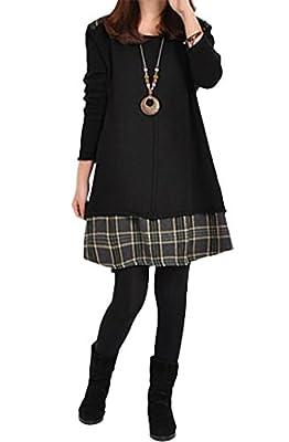 Leezeshaw Womens Vintage Long Sleeve Plaids Stitching Pullover T-shirt Autumn Mini Dress