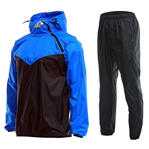 Xingsiyue 男性と女性のための2ピーススウェットサウナスーツ、長袖フード付きトップススウェットパンツジムワークアウトスポーツウェア