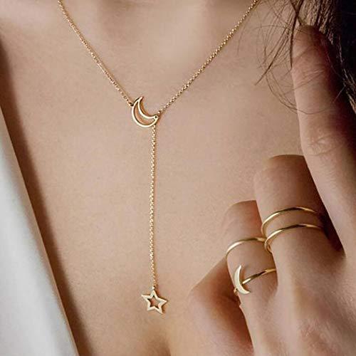 Jeweky - Collar de luna creciente con colgante de estrella dorada para mujeres y niñas