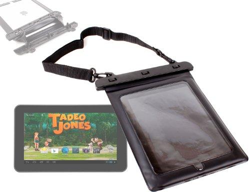 DURAGADGET Funda Negra Sumergible para Tablet Bluesens Tadeo Jones con Cuerda para Transporte