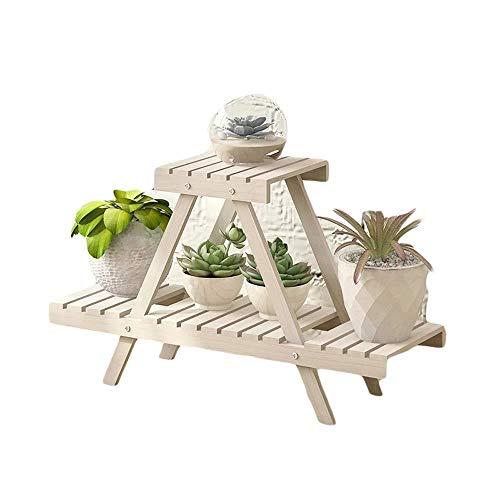 Plant Stand JT - Pot de fleurs pliable en bois à 2 étages - Idéal pour la maison, le jardin, la terrasse - Multifonction - Couleur : blanc, taille : 75 x 26 x 45,5 cm