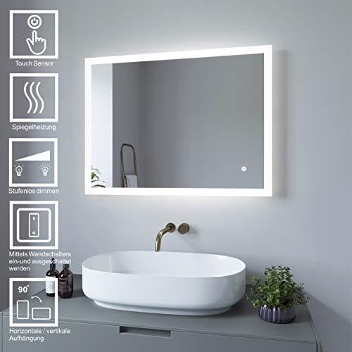 AQUABATOS® Badspiegel LED Beleuchtung Wandspiegel Dimmbar Badezimmerspiegel mit Touchschalter (60 x 80 cm, kaltweißen)