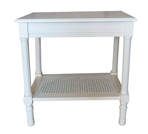 Urbanest Jamestown Side Table with Rattan Shelf, Cream