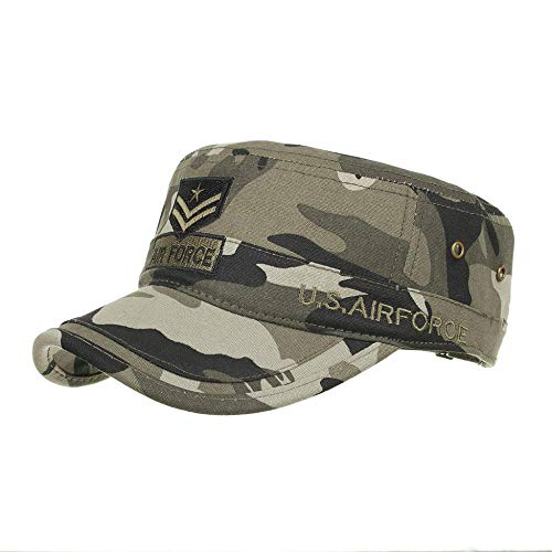 PPSTYLE Sombrero Hombre Algodón Lavado Gorras Militares Cadet Caps Diseño único Vintage Flat Top Cap
