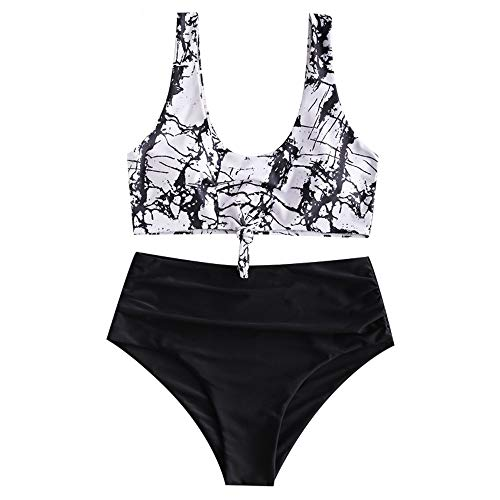 ZAFUL Zweiteiliger Beachwear Set, verknotet Oberteil mit Schulterträger & Tropisches Blattmuster Badehose (Schwarz-Muster, L (EU 40))