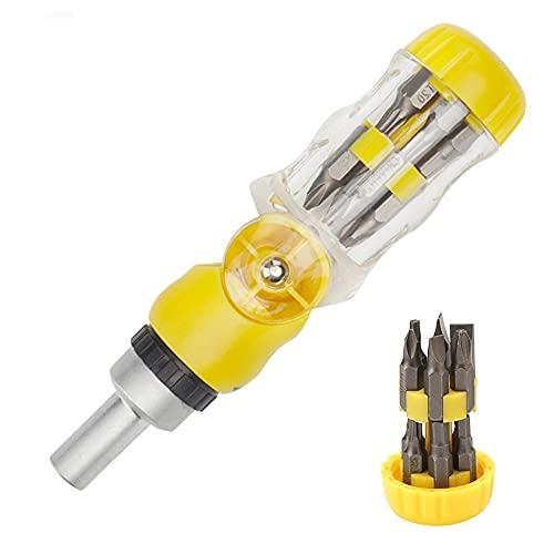 Jooheli Destornillador de Trinquete,Destornillador de Trinquete Magnético 12 en 1,Juego de Destornilladores con Rotación de 180 ° 11 Bits,Bicicleta,Mantenimiento Eléctrico