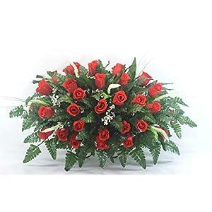 R36 Red Rose Cemetery Flower Arrangement, Headstone Saddle, Grave, Tombstone Arrangement, Cemetery Flowers