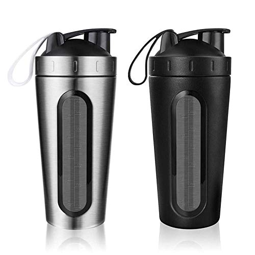 DBSCD Fitness Training Equipment,2Pcs Protein Shaker Bottle, Leak-Proof Flip Cap, Stainless Steel Leak Proof Mixer Bottle with Visual Window Workout Fitness, Black and Silver