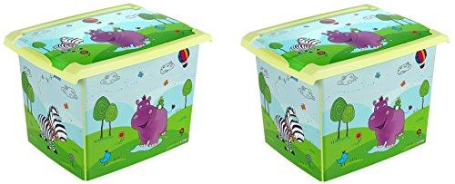 2 x boîte à jouets jouet Boîte Fashion Hippo Boîte de 20 l